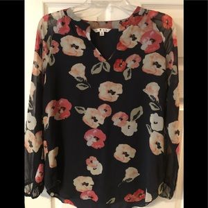 Cabi long sleeve floral blouse. Navy blue